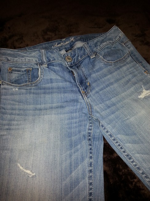 American Eagle Outfitters Distressed Light Casual Fun Flare Leg Jeans-Distressed