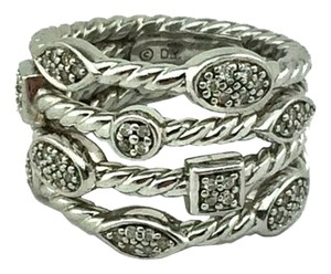 David Yurman David Yurman Sterling Silver Confetti Four-Row Diamond Ring