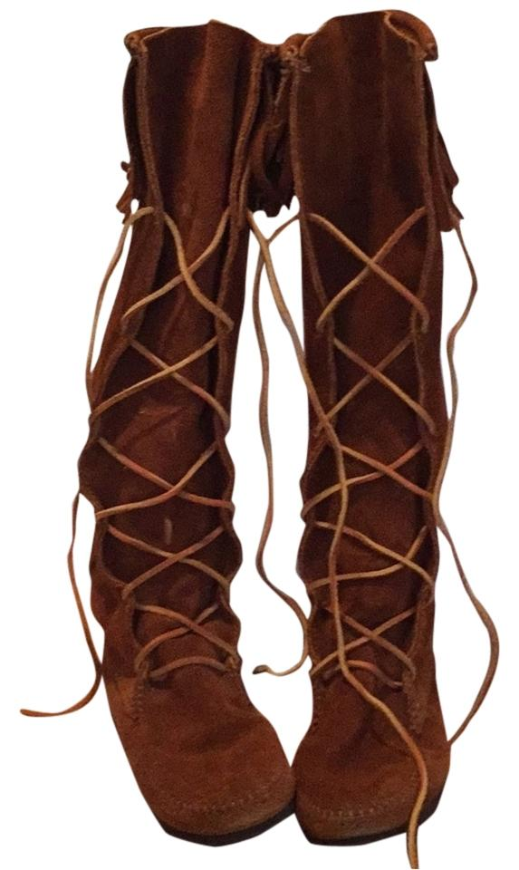 Minnetonka Minnetonka Minnetonka Tan Up Suede Western Boots/Booties e43722