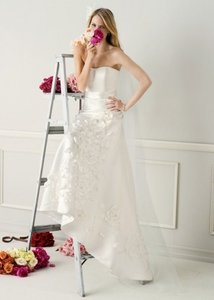 David's Bridal Satin Fit And Flare Gown With 3d Floral Appliques Wedding Dress