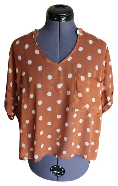 Lush Oversized Layering Sheer Chiffon Dots Cropped 1917 Top Brown