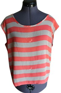 Nordstrom Sheer Top Orange & cream Striped