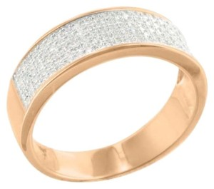Sterling Silver Mens Band Wedding Engagement Micro Pave Rose Gold Finish Elegant