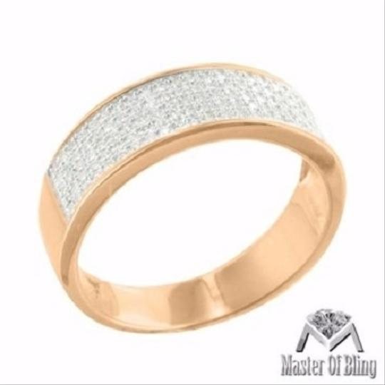 Other Sterling Silver Mens Band Wedding Engagement Micro Pave Rose Gold Finish Elegant