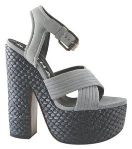 Rochas Sandals Wedges Grey/Blue Platforms