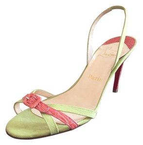 Christian Louboutin Buckle Slingback Crocodile Lime green & salmon pink Sandals