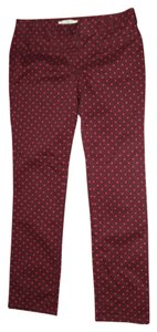 Ann Taylor LOFT Skinny Pants Maroon With Pink Dots