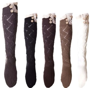 5 Pairs Knitted Boot Socks With Lace Top And Button Detail: Assorted Colors