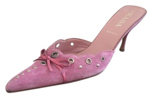 Prada Suede Grommeted Studded Pink Mules