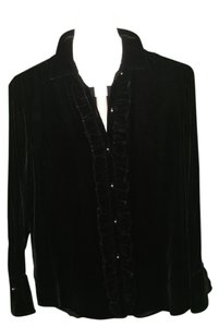 Ralph Lauren Long Sleeves Pearl Buttons Top Black