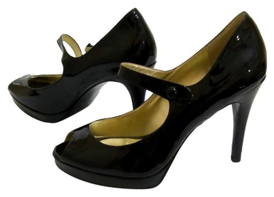 Guess By Marciano Patent Leather Mary Jane Peep Toe Black Platforms