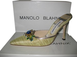 Manolo Blahnik Lime green with gold trim Mules