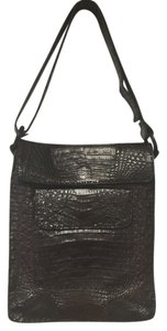 Rhonda Ochs Leather Double Flap Messenger Crocodile Cross Body Bag