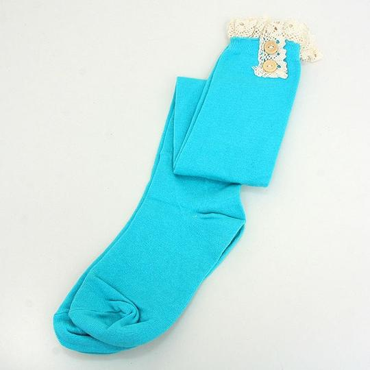 Other Cute Buttoned Lace Top Cotton Knee High Boot Socks Stocking