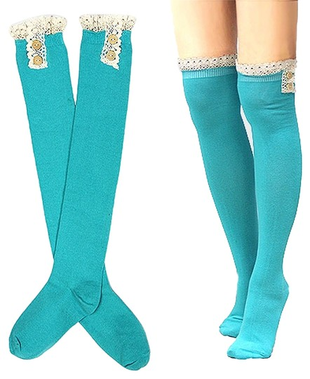 Other Cute Buttoned Lace Top Cotton Boot Socks Stocking
