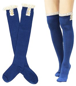 Cute Buttoned Lace Top Cotton Boot Socks Stocking