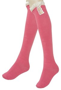Pink Cute Buttoned Lace Top Cotton Knee High Boot Socks Stocking