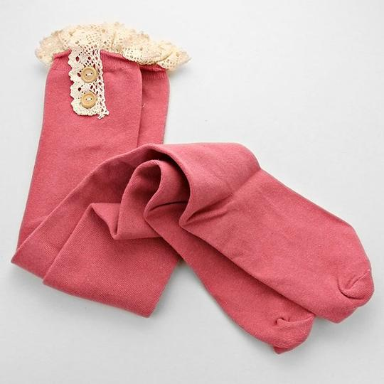 Other Pink Cute Buttoned Lace Top Cotton Knee High Boot Socks Stocking Image 1