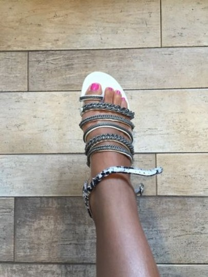 Chanel 2015 Black Tweed Strappy Chain Flip Flop White Sandals