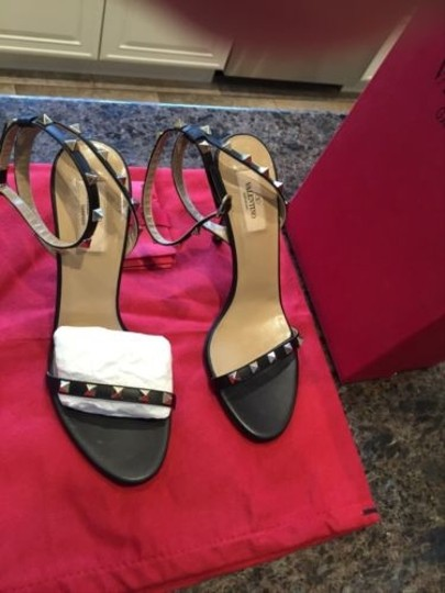 Valentino Rockstud Sandal 100mm Heel Black Pumps