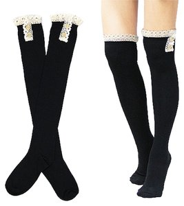 Black Cute Buttoned Lace Top Cotton Knee High Boot Socks Stocking