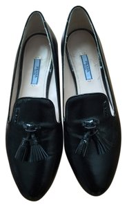Prada Leather Saffiano Slippers Tassel Loafers Loafer Black Flats