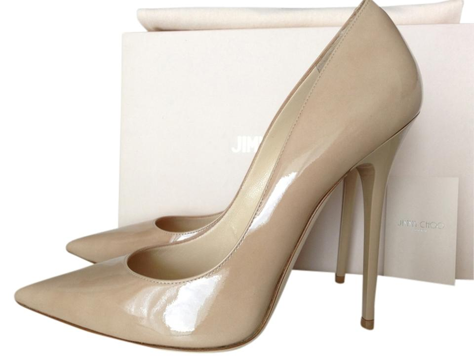 68e03b92a8 Jimmy Choo Beige Nude Anouk 120 Patent Leather 38.5 Pumps Size US ...