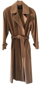 Anne Klein Cashmere Wool Double-breasted Trench Coat