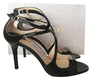 Jimmy Choo Ivette Patent Leather BLACK Sandals