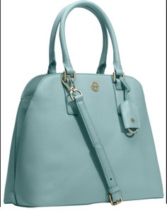Tory Burch Saffiano Leather Satchel in Windstorm (blue)