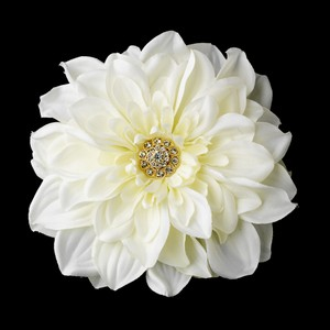 Elegant Gold Rhinestone Jeweled Royal Gerber Flower Wedding Bridal Hair Clip - Ivory
