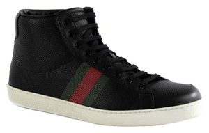 Gucci 357171 Men's Perforated Leather High Top Sneakers Sneakers Leather Leather Sneakers Sneakers Black Athletic