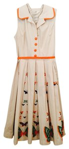Tan with orange trim Maxi Dress by Bettie Page Rockabilly Pinup House Pinup