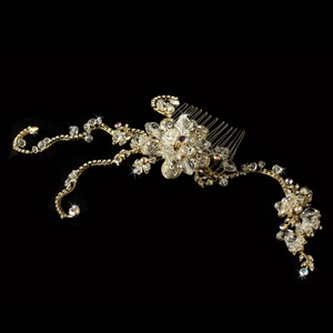 Stunning Swarovski Crystal Gold Floral Wedding Bridal Hair Comb