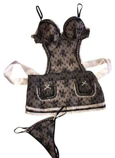 Victoria's Secret Black Lace Sexy Apron with Matching Thong