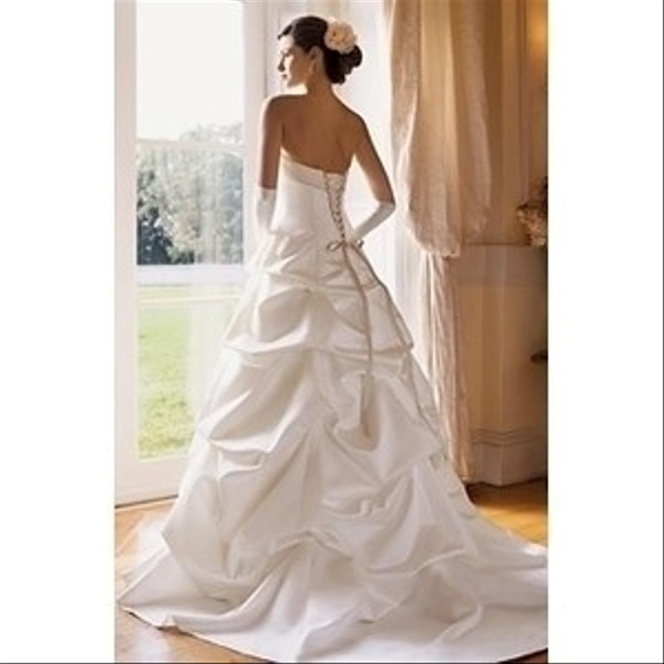 Davids Bridal Wedding Gown: David's Bridal T9168 Satin Pick-up Ivory Ball Gown With