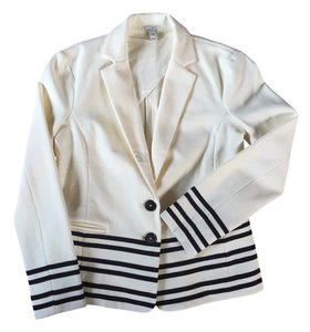 J.Crew Coat Suit Suiting Black And White Classic Casual Work Stripes Petite Cream Blazer