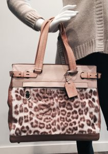 Reed Krakoff Unique Rare Tote in Beige leather/animal print hair calf