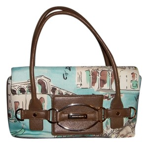 Antonio Melani Satchel in Light Teal color with brown leather