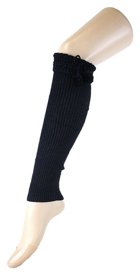 Other Black Cute Fur Ball Accent Top Knitted Leg Warmer Boot Socks