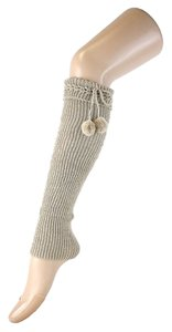 Other Beige Cute Fur Ball Accent Top Knitted Leg Warmer Boot Socks