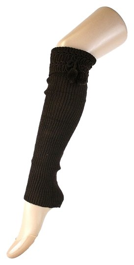 Other Brown Cute Fur Ball Accent Top Knitted Leg Warmer Boot Socks