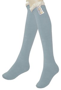 Other Gray Cute Buttoned Lace Top Cotton Knee High Boot Socks Stocking
