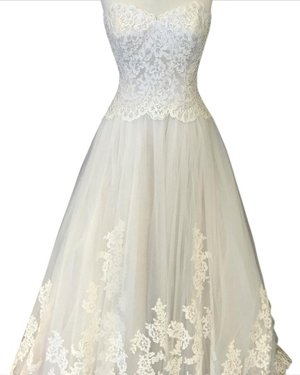David Tutera for Mon Cheri Ivory/Stone Lace and Tulle 114275 Patmore Traditional Wedding Dress Size 8 (M)