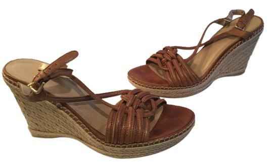 Stuart Weitzman Slingback Brown leather leather lining espadrille open toe Wedges