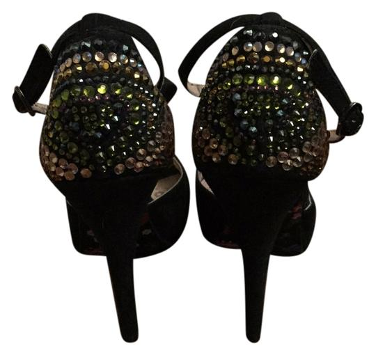 Betsey Johnson Hidden Suede Peep Toe Embellished Bright Studded Rhinestone Mary Jane Party Sparkle Night Out Date Night Strappy Bj Black Platforms