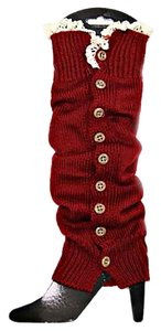 Red Lace Button Down Leg Warmer Boot Socks