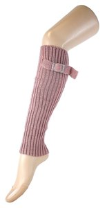 Pink Cute Belt Buckle Accent Knitted Leg Warmer Boot Socks