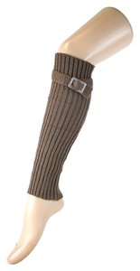 Other Coffee Beige Cute Belt Buckle Accent Knitted Leg Warmer Boot Socks