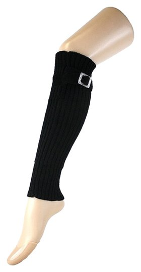 Other Black Cute Belt Buckle Accent Knitted Leg Warmer Boot Socks